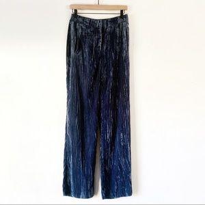 TopShop Blue Crinkle Velvet Trouser Pants 4